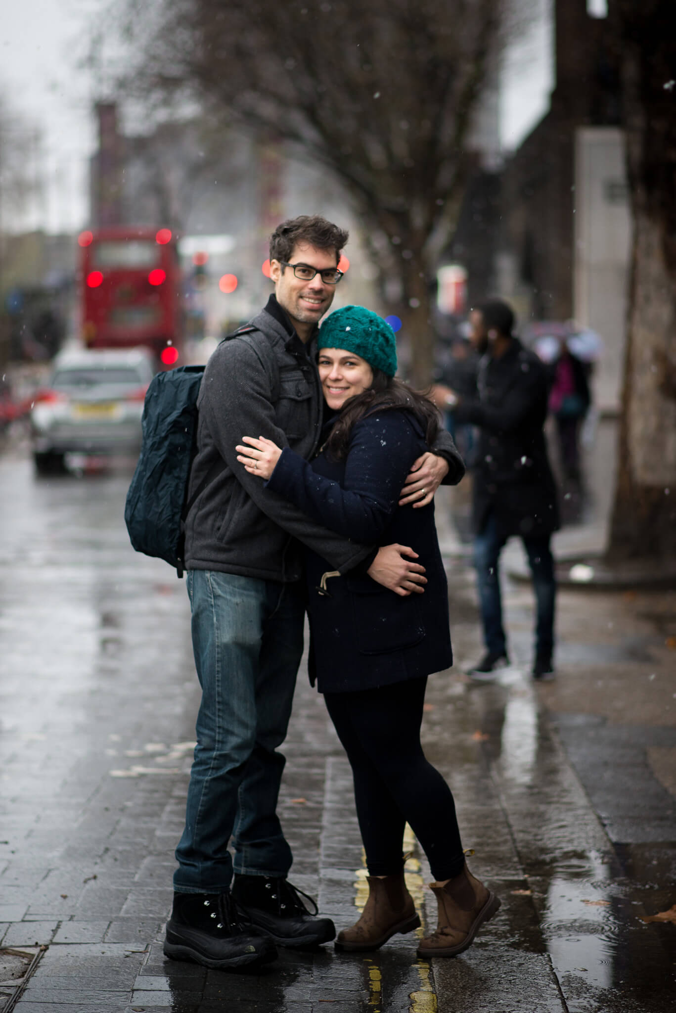 Snow couple photo shoot in London