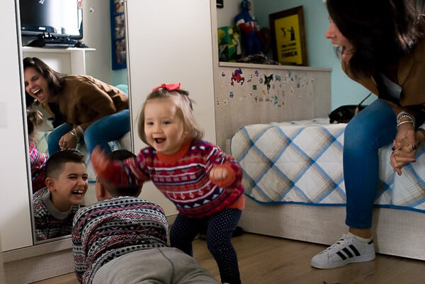 Documentary Family photography London: family having fun together